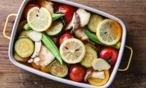 夏野菜を味わう <br> 「まるごとだし粉」でいろどり焼き浸し
